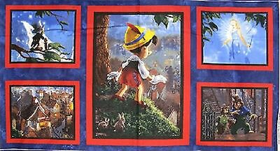 5 Disney Panels Pinocchio Geppetto Jiminy Cricket For Quilts Home Decor Project