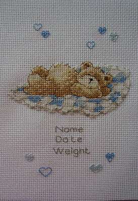 Personalised Completed Cross Stitch Baby Birth Sampler Boy