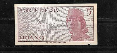 INDONESIA #91a 1964 VF CIRC OLD 5 SEN BANKNOTE BILL NOTE PAPER MONEY