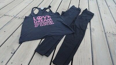 Victorias Secret Pink Lot Of 2 Leggings Free Tank Shirt Xs/s