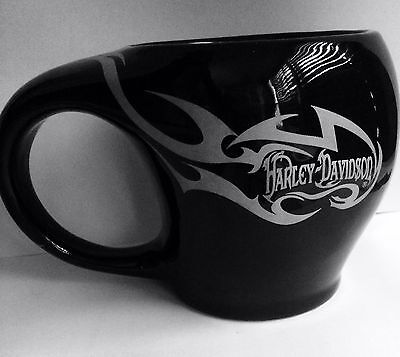 HARLEY DAVIDSON Official Licensed Large Black Wide Mouth Coffee Cup Mug 16oz