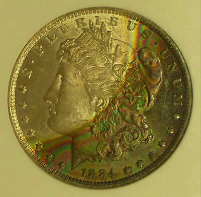 1884 O NGC MS64 Rainbow Textile Color tone Silver Morgan Dollar GREEN & PINK Wow