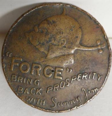 Old Vintage Brass Advertising Coin Force Cereal Sunny Jim