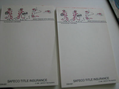 Pink Panther Make Tracks with Safeco Title Insurance  2 Notepads 1984 4x6  s