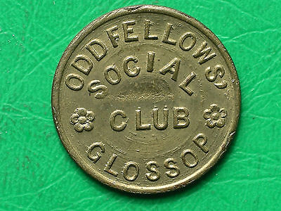 Oddfellows Social Club Club Glossop Derbys 1d brass refreshment token pub check