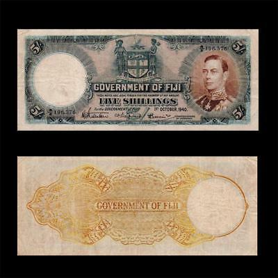1940 British Colony Fiji (Qe Ii), 5 Shillings - » Cv $300 « ~X. Rare~
