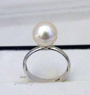 HS Rare South Sea Cultured Pearl 10mm Ring 925 Sterling Silver Top Grading