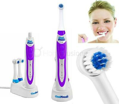 Oral Fresh Pro 10 Rotary Rechargeable Toothbrush Electric+ 2 Min Timer & 2 Heads