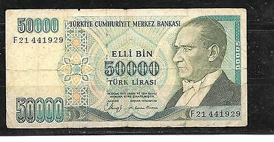 TURKEY #203a 1989 VG CIRCULATED 50000 LIRA BANKNOTE PAPER MONEY CURRENCY NOTE