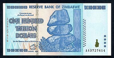 ZIMBABWE $100 TRILLION DOLLAR - $100,000,000,000,000  - UNC new.