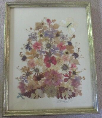 Vintage Framed DRIED FLOWER & BUTTERFLY PICTURE Dried Flowers by H.W.Powell 1973