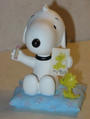 """Snoopy Approx 3"""" """"Snoopy Sketching Woodstock's Portrait"""" MIB Baby Snoopy"""