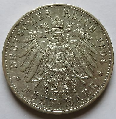Germany 1904 F Funf 5 Mark, Vintage Silver coin  (241333B)