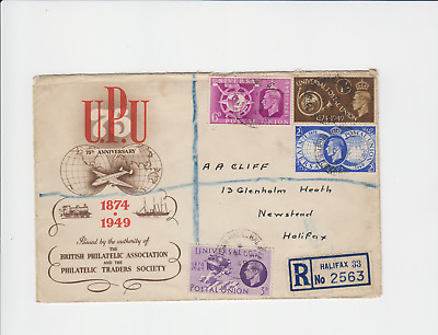 Sg499-502 Gb George Vi Upu Set On Bpa/pts Fd Cover 10Oct1949 Reg'd Halifax