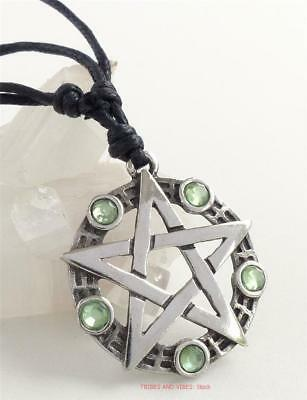 Pentacle PENTAGRAM Pewter Pendant Necklace green beads Pagan Wicca Druid Witch