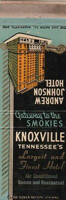 Vintage Hotel Matchbook Cover. Andrew Jackson Hotel. Knoxville, Tn.