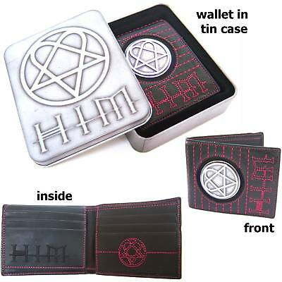 Him H.i.m. Pink Stitch Heartagram Medallion Leather Wallet With Tin Case New