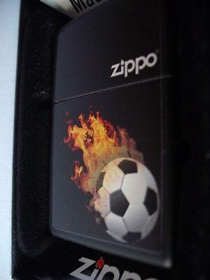 Flaming Football Soccer Ball Zippo Logo Windproof Lighter  Flames Burning