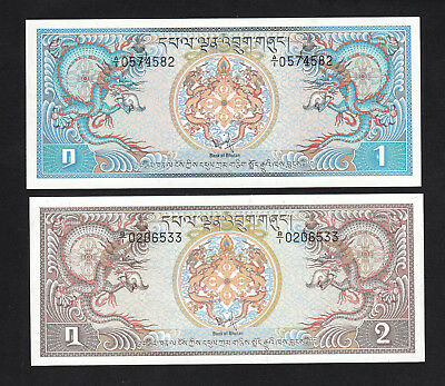 Set 2pcs Bhutan 1 & 2 Ngultrum (1981) P5 P6 UNC