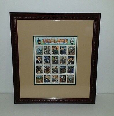 Civil War Stamps 32 Cents U.s. Postage Sheet Framed And Matted
