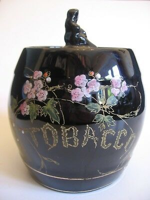 ART NOUVEAU GIBSON'S TOBACCO JAR HAND-ENAMELLED FLORAL DECORATION c.1910's- EX