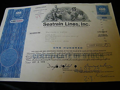 Seatrain Lines, Inc Stock Certificate 100 Shares Capital Stock Dated May 1974