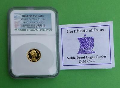 1994 NGC PF70 U-Cam Isle of Man Gold 1/10oz Noble, 1st Year of Issue Green Label