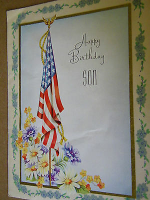 Vintage Greeting Card Happy Birthday Son  1940's  Made In U.s.a.