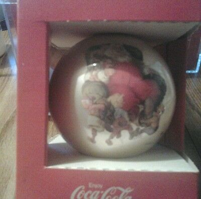 Coca-Cola Classic Christmas Ornament Sundblom Santa Corning Glass Circa 1960
