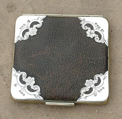 Antique Leather & Silver Mounted Calling Card Case Chester 1898 Henry Marshall
