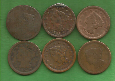 Six Large Cents Culls (1828-1856)!!