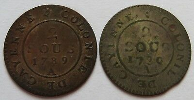 French Guyana 1789 A + 1780 A Two 2 Sous coins, France Guiana Vintage (241535B)