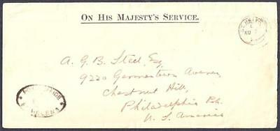 St. Helena OHMS cover with Post Office oval cachet PO4 >USA 1920 -- -scarce ---