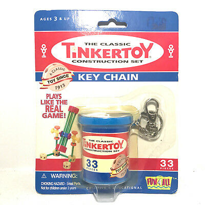 Fun 4 All The Classic Tinkertoy Construction Set Key Chain 33 Pcs (Sealed)