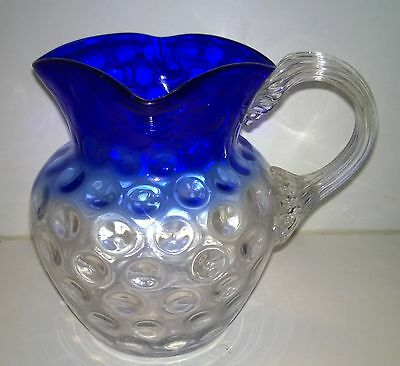 Rare Beautiful Antique Vintage Cobalt To Clear Dimpled Hand Blown Glass Jug