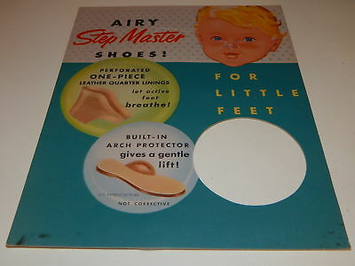 Vintage Airy Step Master Shoes sign For Little Feet cardboard display