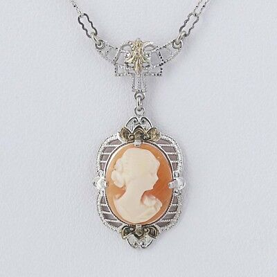 """Vintage Cameo Pendant Necklace - Sterling Silver Carved Shell Filigree 15.5"""""""
