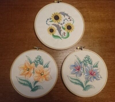 Vtg Retro Machine Embroidered Picture Embroidery Loop Floral x 3 Shabby Chic