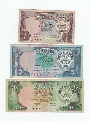 Kuwait  1968 Lot of  3 different  Dinars 1968  paper money banknotes