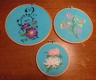 Vtg Retro Machine Embroidered Picture Embroidery Loop Floral 3 Shabby Chic Blue