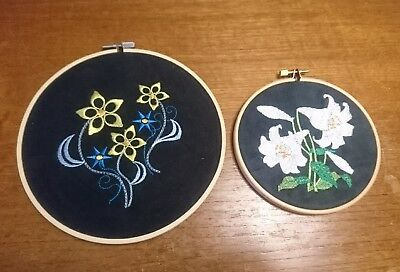 Vtg Retro Machine Embroidered Pictures Embroidery Loop Floral Shabby Chic Black