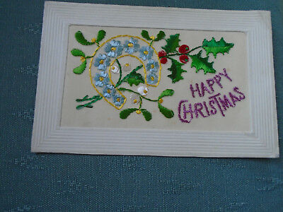 Ww1 Vintage Silk Postcard Happy Christmas - Holly & Horseshoe