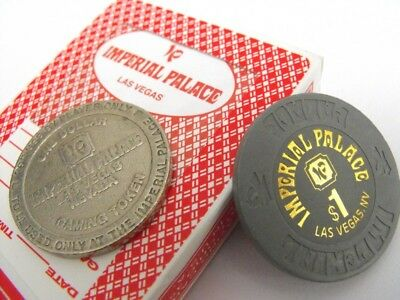 IMPERIAL PALACE CASINO Vintage Las Vegas $1 TOKEN & Casino Used CARDS & CHIP
