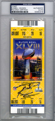 Russell Wilson Autographed Signed Super Bowl XLVIII Ticket Seahawks PSA/DNA