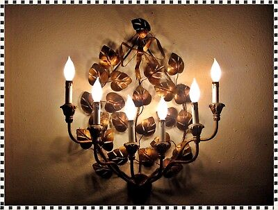 Vintage Mid Century Modern Hollywood Regency Wall Sconce Chandelier 6 Light Lamp