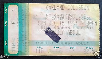 PAULA ABDUL December '91 Original Authentic Concert Ticket Stub Oakland Coliseum