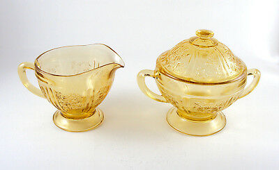 Federal Glass Sharon Cabbage Rose Yellow Amber Depression Creamer And Sugar