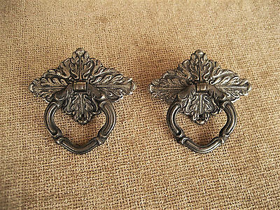 Antique Ornate Plate And Ring Pull Handle Drawer Door Hardware Lot Of 2