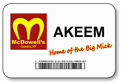 Akeem Coming To America Mcdowells Big Mick Name Badge Halloween Prop Pin Back
