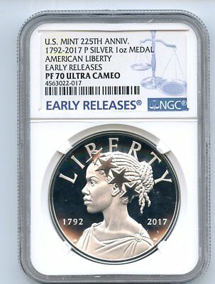 2017 P American Liberty Silver Medal NGC PF70UCAM Early Release